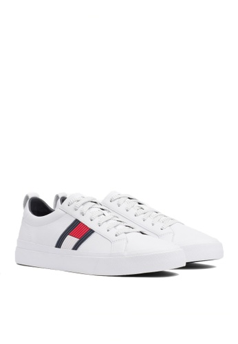 Tommy Hilfiger white FLAG DETAIL LEATHER SNEAKER 4AC97SH5736B68GS_1