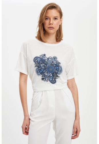 DeFacto beige Woman Knitted Short Sleeve T-Shirt 98B64AA91DAE71GS_1