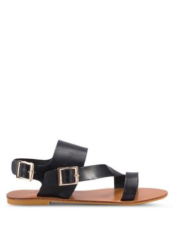 Sophie 不對稱扣環帶平底涼鞋, 女鞋, zalora 包包 ptt鞋