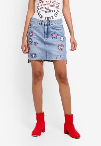 Superdry blue Denim Mini Skirt 192D9AAC2C21FBGS_1