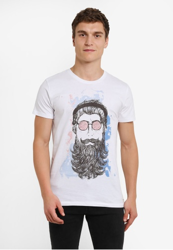 !Solid white Kean Illustration Print T-Shirt SO701AA0S2VIMY_1