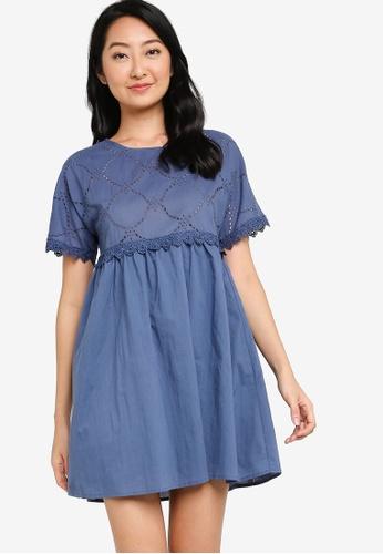 ZALORA BASICS navy Lace Trim Eyelet Dress E808DAA2567163GS_1
