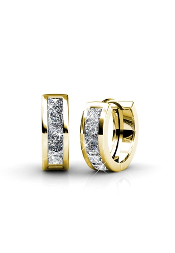 Her Jewellery gold Square Hoop Earrings (Yellow Gold) -  Embellished with Crystals from Swarovski® DEE01AC57D0EB6GS_1