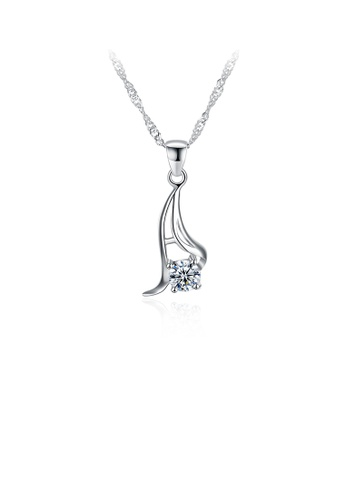 Glamorousky white 925 Sterling Silver Simple Elegant  Fashion Pendant Necklace with Cubic Zircon 90615ACB906042GS_1