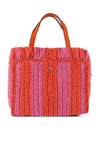 kate spade new york orange and multi Sam Stripe Straw Medium Satchel Bag (cv) 95DFAACB22018BGS_1