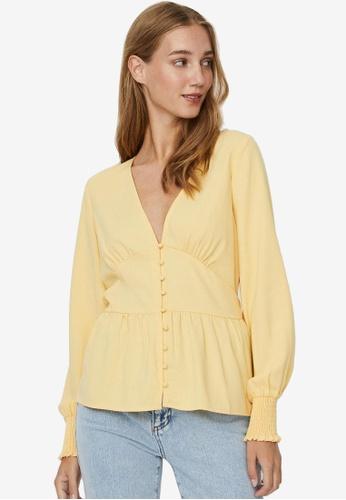 Vero Moda yellow Eye Long Sleeve Woven Top A1BA5AABDBF073GS_1