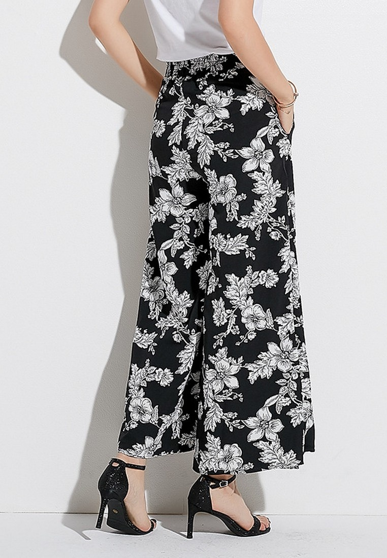 Pants Summer Printed Skirt Lady Spring Black LYCKA Style Black Korean Chiffon Floral Bqt8Uz