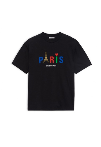 BALENCIAGA black Balenciaga Paris Love Regular T-shirt in Black 6DD35AA0108F30GS_1