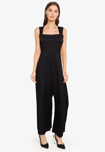 ZALORA WORK black Square Neck Wide Leg Jumpsuit D884AAAEF593D0GS_1