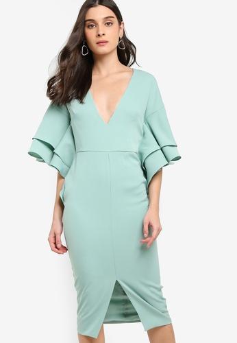2f7ac7381 Lavish Alice green Exaggerated Double Frill Sleeve Woven Midi Dress  176E8AAB159451GS 1
