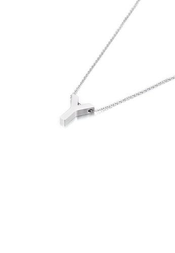 Glamorousky 銀色 簡約氣質英文字母Y 316L鋼吊墜配項鏈 3A803AC1CB30ABGS_1