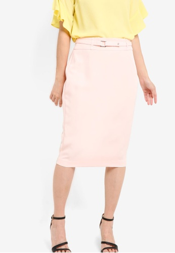 Dorothy Perkins pink Blush Belted Skirt DO816AA24PNBMY_1