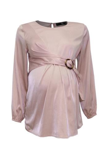 9months Maternity pink Dusty Pink Buckle Wrap Nursing Blouse DB739AA536E9FFGS_1