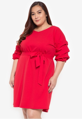 Shop Divina Plus Size Dress With Statement Sleeves Online On Zalora