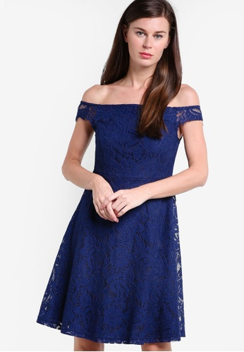 Dorothy Perkins navy Petite Navy Lace Bardot Fit & Flare Dress DO816AA99CCAMY_1