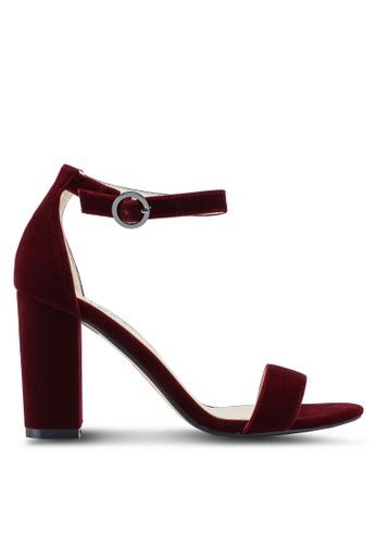 ZALORA 紅色 Velvet Sandal Heels 11462SH3D866D8GS_1