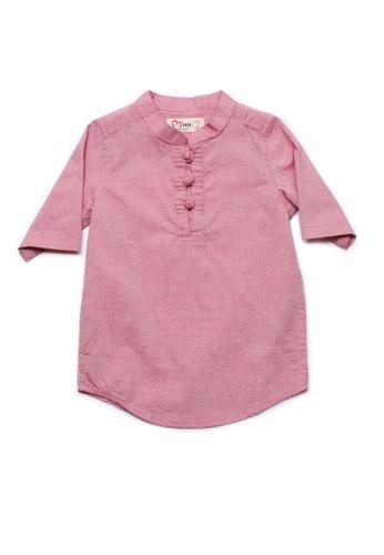 Mini Moley red Oriental Style Boy's 3/4 Sleeve Shirt B3825KACD76D0BGS_1