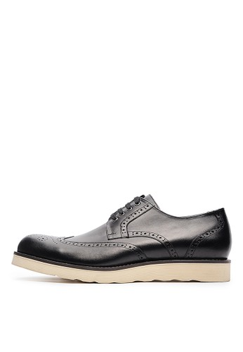 MIT頭層NAPPA牛皮。休閒德比鞋-04697-黑色, 鞋, esprit hong kong 分店皮鞋
