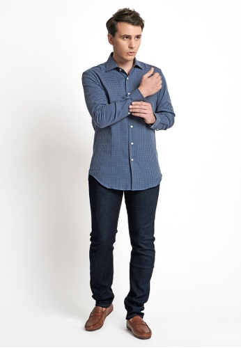 Gay Giano blue Regular Fit Wide Spread Gingham Dress Shirt 384ADAA150800BGS_1