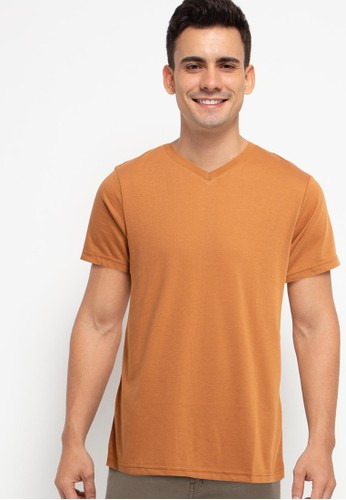 Tolliver brown V Neck Basic Short Sleeve Tee 31A98AA0B8D28DGS_1
