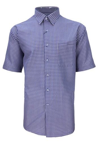 Pacolino purple Pacolino - Checker Formal Casual Short Sleeve Men Shirt 9657AAA08B5470GS_1