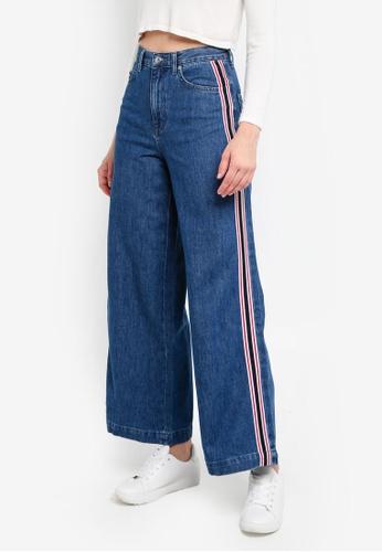 TOPSHOP blue Moto Stripe Indigo Wide Leg Jeans AA19FAA729CC6BGS_1