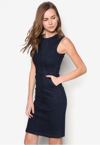 挖背丹寧連身裙, 服zalora 鞋評價飾, 洋裝