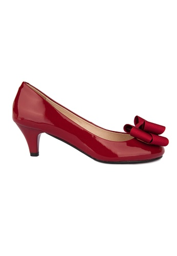 MAUD FRIZON red Patent Mid Heel Pumps With Bow Detail MA153SH00YCLHK_1