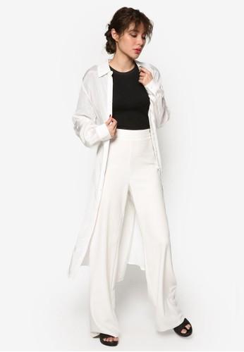 韓系時尚繫帶襯衫過膝連身裙, esprit 鞋服飾, 洋裝