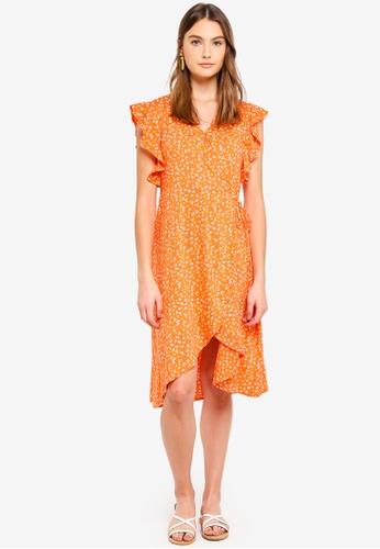 Cotton On orange Woven Winnie Wrap Hi Low Dress 4C3FEAA7280019GS_1