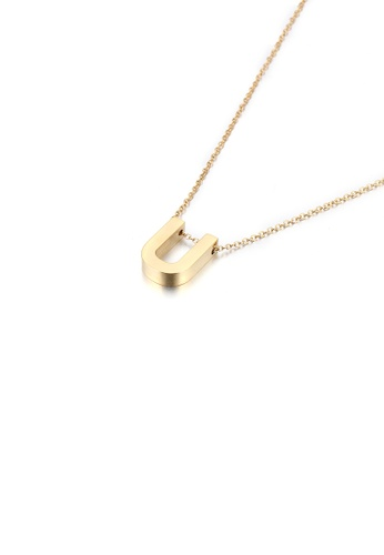 Glamorousky silver Simple Personality Plated Gold English Alphabet U 316L Stainless Steel Pendant with Necklace 97753ACD8B0FE3GS_1