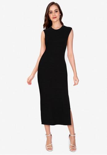 ZALORA WORK black Side Slit Rib Dress 26F9FAA221C364GS_1