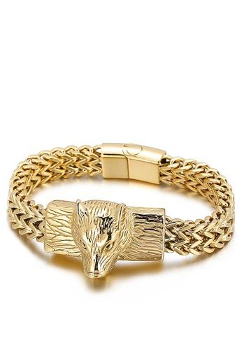 HAPPY FRIDAYS Stainless Steel Wolf Head Bracelet KL143648 81211AC697D633GS_1