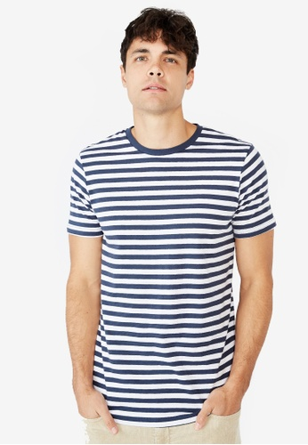 Cotton On white and navy Tbar Premium T-Shirt 2BD43AA1FF8C9AGS_1