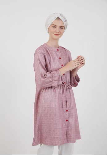 Berrybenka Label pink Sophiera Elsa Drawstring Tops Pink AE8ACAAAA4DD2AGS_1