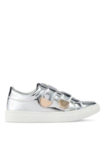 addicts anonymous silver Elizabeth Metallic Velcro Sneakers AD479SH0SR5VMY_1