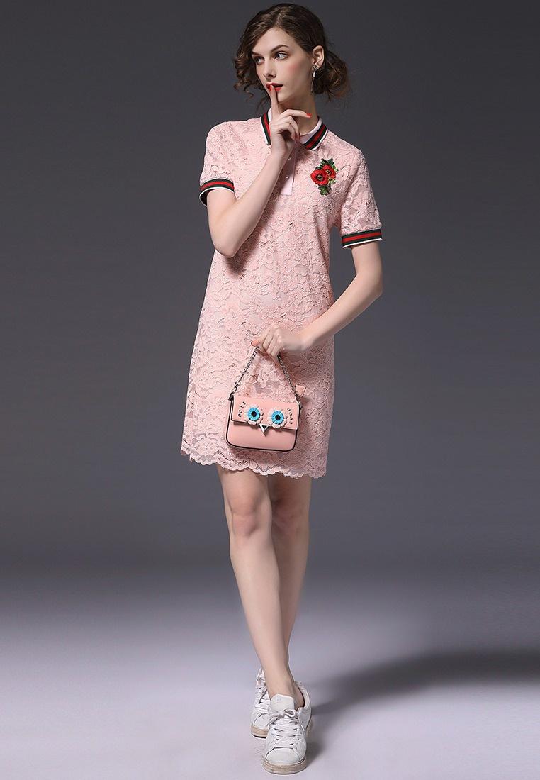 Lace A052222PI One Dress Sporty Sunnydaysweety Pink New piece Pink 2018 twB1qH1