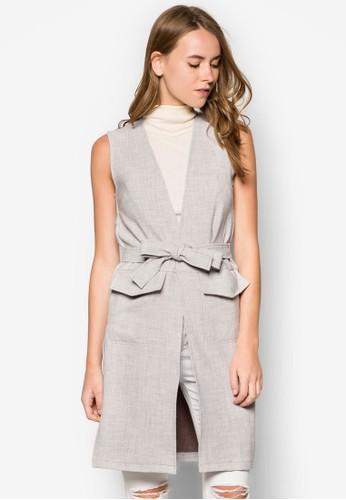 腰帶無袖長版外套, 服飾, 夾克 & zalora 衣服評價大衣