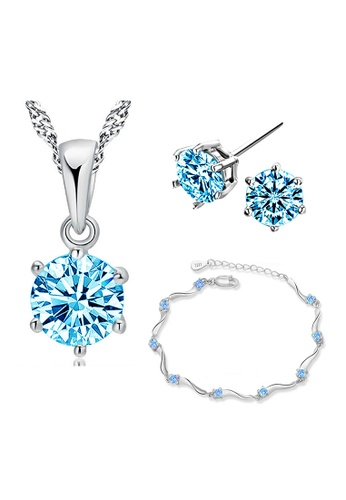 YOUNIQ silver YOUNIQ Hexa 925 Sterling Silver Necklace Pendant With Brilliant Cut Blue Cubic Zirconia, Earrings & Bracelet Set YO999AC29KZYMY_1