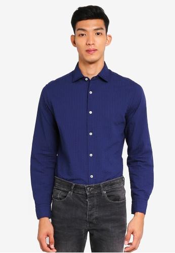 MANGO Man blue Slim-Fit Stripe Textured Shirt CBAE3AA8360B67GS_1