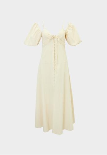 Pomelo beige Puffed Sleeves Neck Tie Dress - Beige 13FBFAAEB4DC1AGS_1