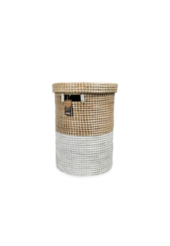 HOUZE white ecoHOUZE Seagrass Laundry Basket With Lid - White (Small) 42A3EHLEFD85EEGS_1