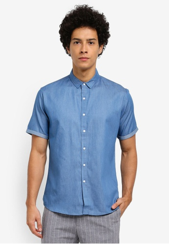 ZALORA blue Denim Turn Up Short Sleeve Shirt D9F99AACB76041GS_1