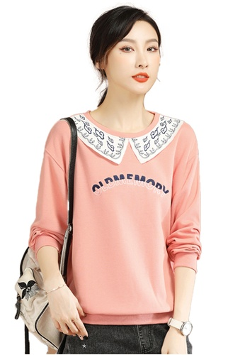 A-IN GIRLS pink Fashion Round Neck Embroidered Sweatshirt 29FEDAABEA9FAEGS_1