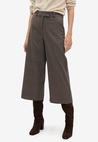 Mango brown Check Culotte Trousers 0C511AAB5F1E66GS_1