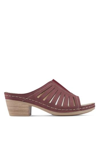 Louis Cuppers 紅色 粗跟低跟涼鞋 EBD33SHD7091C9GS_1