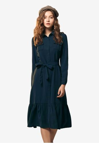 Kodz navy Belted Shirt Dress 00837AAC832CF2GS_1