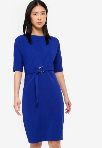 ZALORA BASICS blue Basic D-Ring Knee Length Dress 7710FAA08797FFGS_1