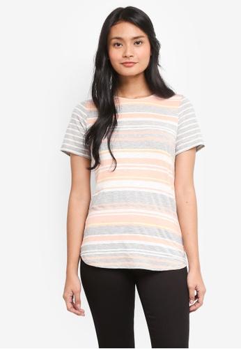 Dorothy Perkins pink Apricot Stripe Curve Hem Tee FEE30AA5D33674GS_1