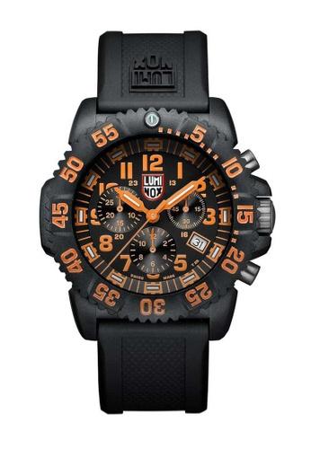 Luminox orange Luminox Colormark Navy Orang and Black Rubber Watch 409CCACE7D6F18GS_1